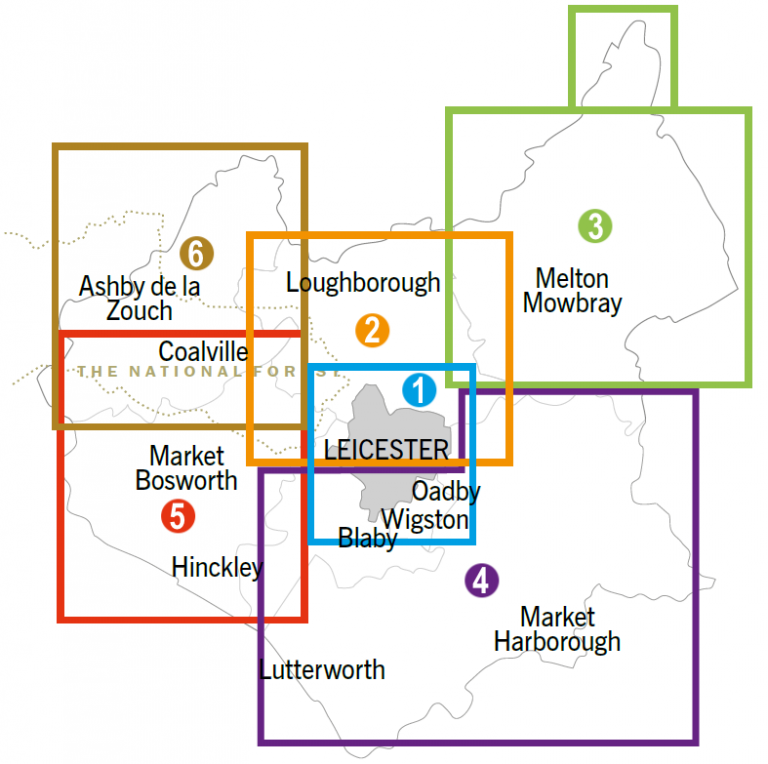 Map showing the 6 areas of Leicestershire that the cycling maps cover.